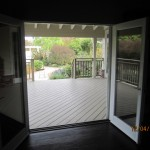 Interior View of a Double Set of Retracted Screen Doors installed on French Doors in Office Point Dume, Malibu