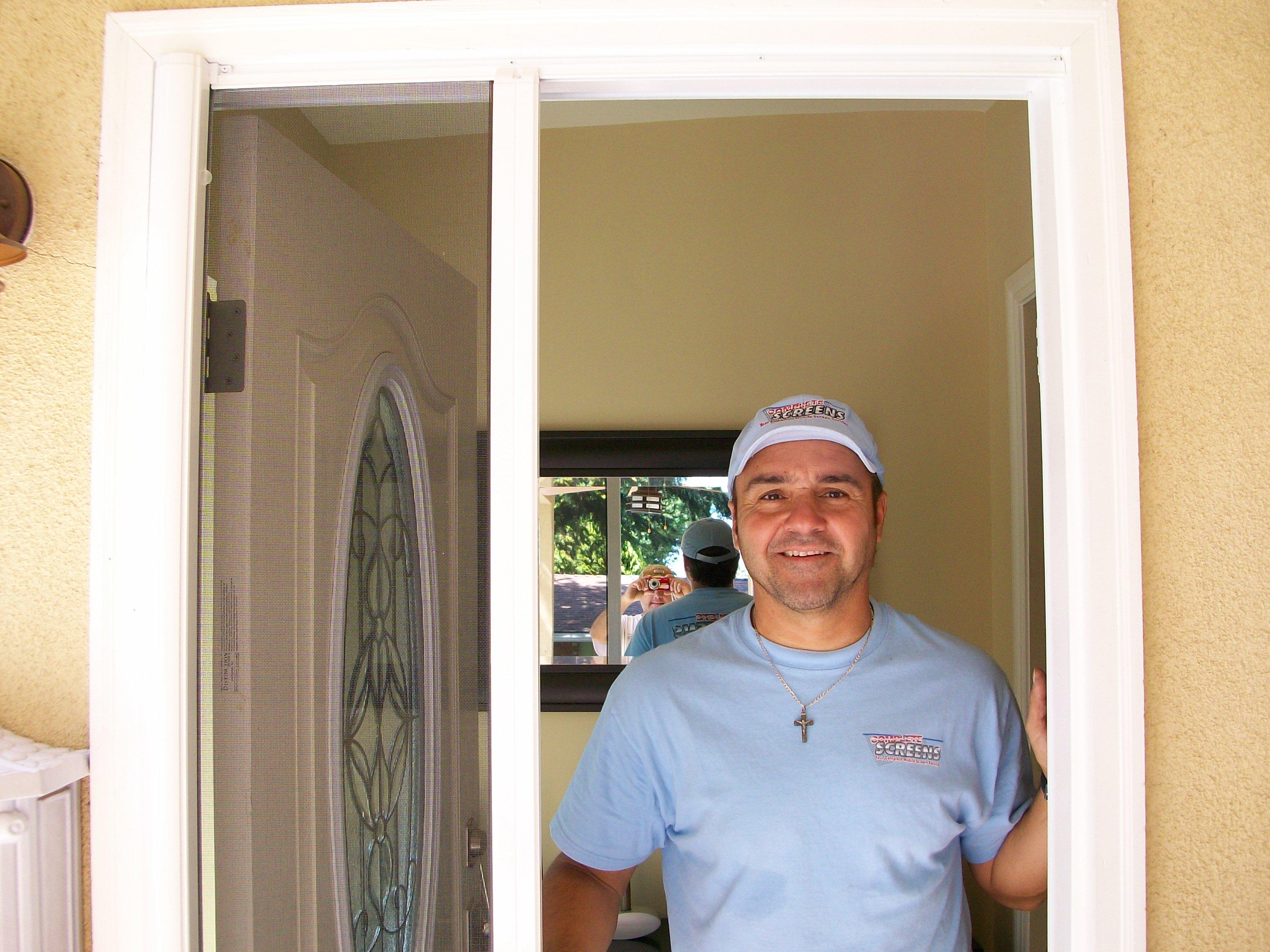 Hide away screen doors mobile screen service for doors for Hidden sliding screen door