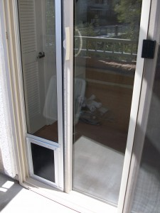 Glass pet door panel