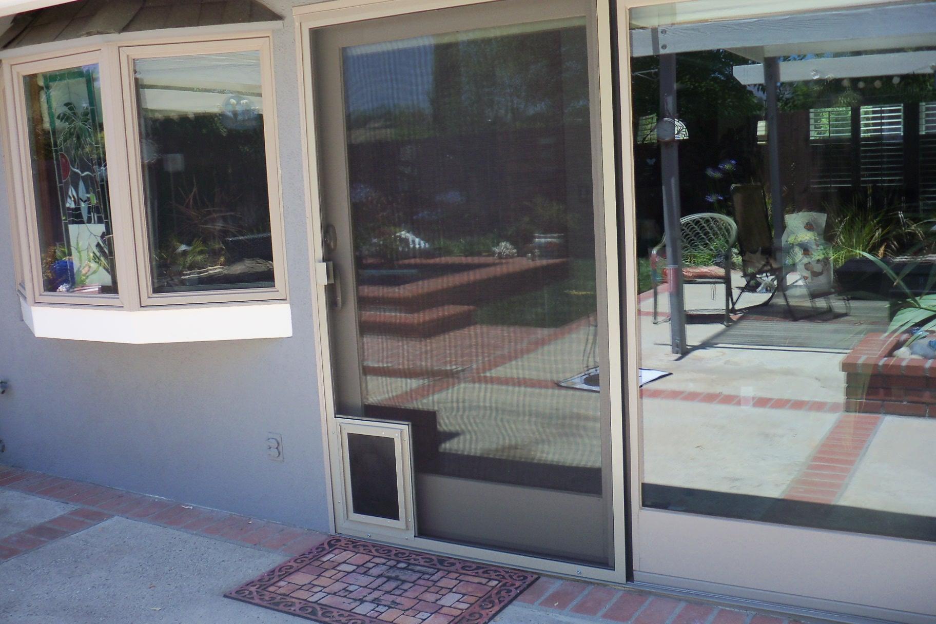 heavy duty patio screen door with pet door in calabasas