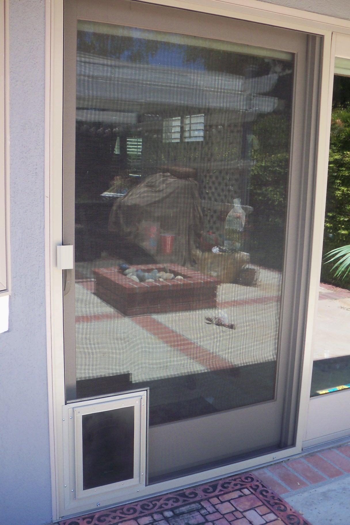 heavy duty patio screen door with pet door calabasas