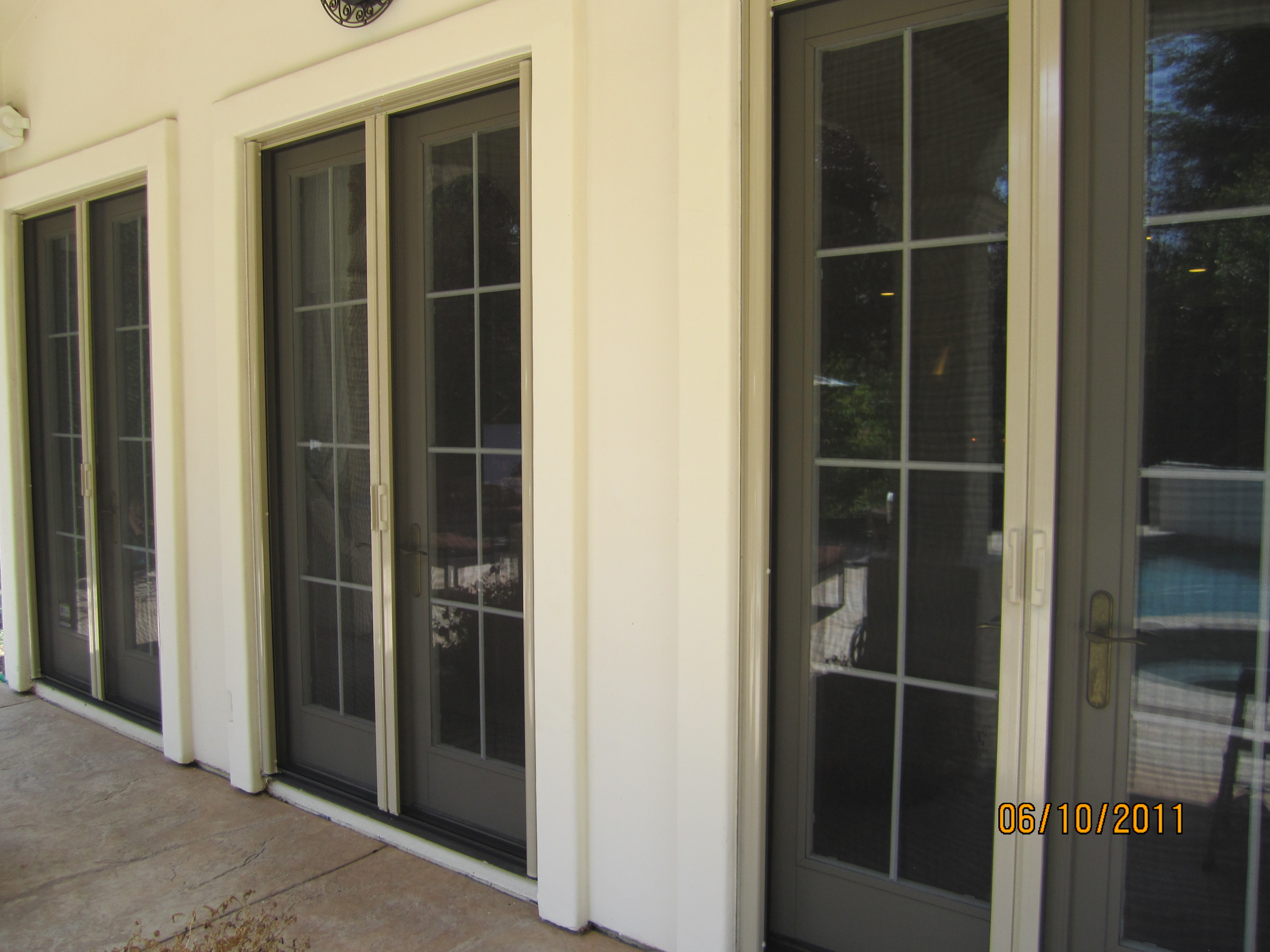 All double sets retractable screen french doors simi valley mobile screen service - Double french doors with screens ...