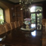 Arched window panels installed in dinning room