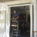 Double set retractable screen doors for French doors installed in Topanga