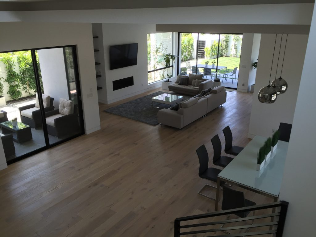 Sherman Oaks Installation extruded aluminum Bronze Screen Door in Living Room